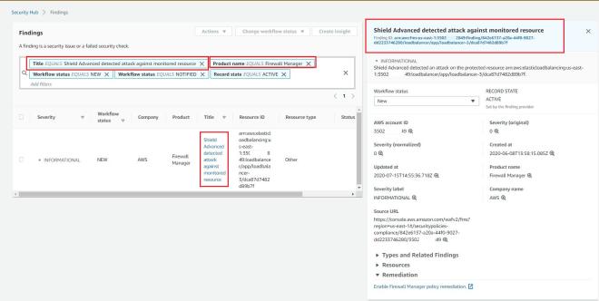 Figure 5: Scenario 1 - Shield Advanced DDoS alarm showing in Security Hub