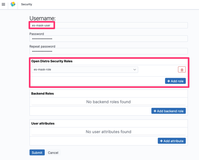 Figure 7: Select the username, password, and roles