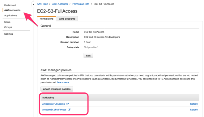 Figure 17: Review the permission set in the AWS SSO console
