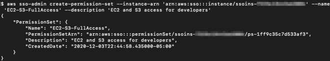 Figure 4: Creating the permission set EC2-S3-FullAccess