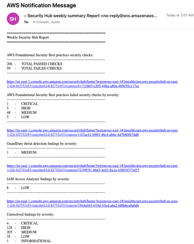 Figure 1: Example email with a summary of security findings for an account