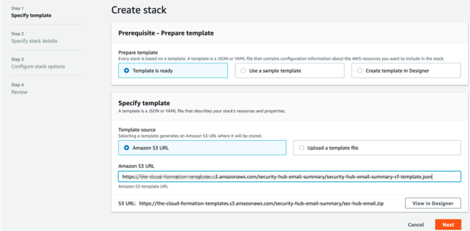 Figure 10: Specify S3 URL for CloudFormation template