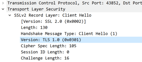 Figure 1: Wireshark packet capture showing that the client application only supports TLS 1.0