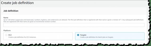 Setting up job definition