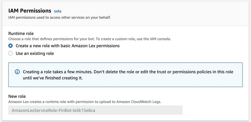 For Runtime role, select Create a new role with basic Amazon Lex permissions.