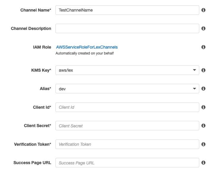 Enter values for Client Id, Client Secret, Verification Token, and Success Page URL