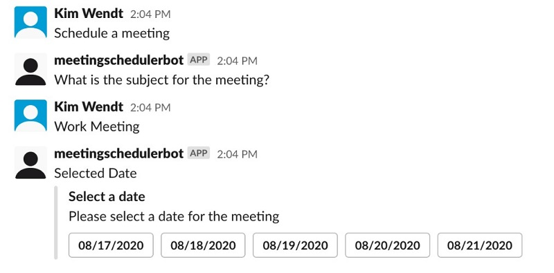 The following screenshot shows the bot's response.