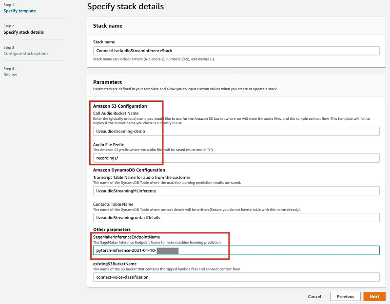 You need to fill in the S3 bucket name for the audio recording and the SageMaker inference endpoint as parameters.
