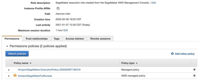 You can use the AWS-managed policies AmazonSageMakerFullAccess to grant general access to SageMaker services.