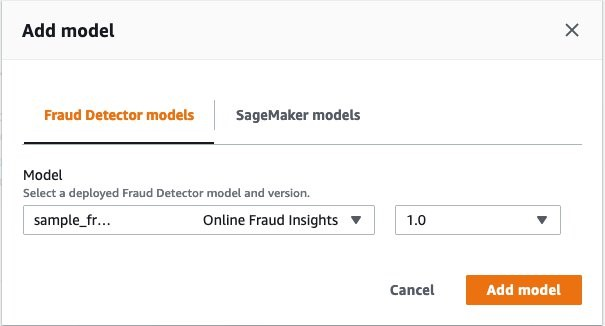 In the Add model section, for Model, choose your model and its version.