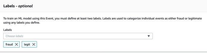 For Labels, choose fraud and legit.