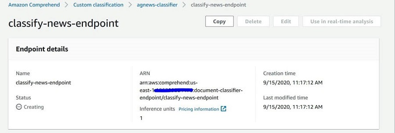 Copy the endpoint ARN as shown in the following screenshot.