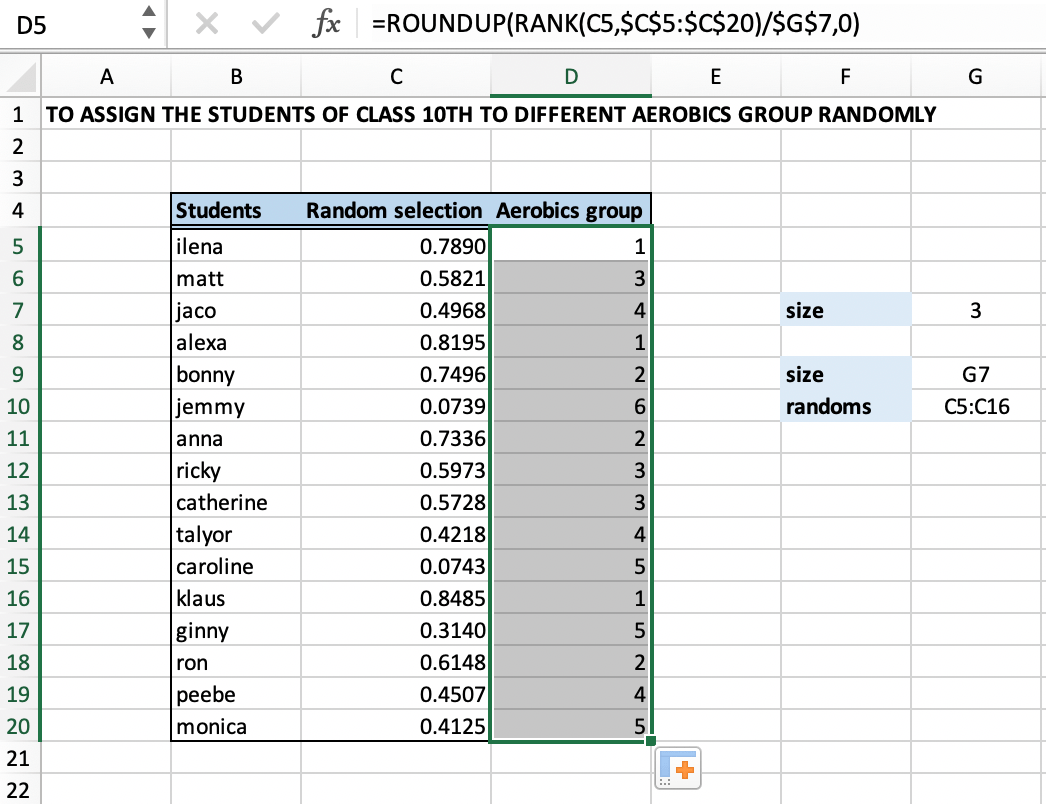 Excel Formula Randomly Assign People To Groups
