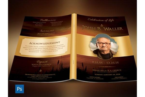 Sunset Funeral Program Templa Design Bundles