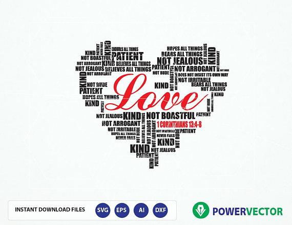 Download Bible Verse Svg 1 Corinthians 13:4-8 Lo   Design Bundles