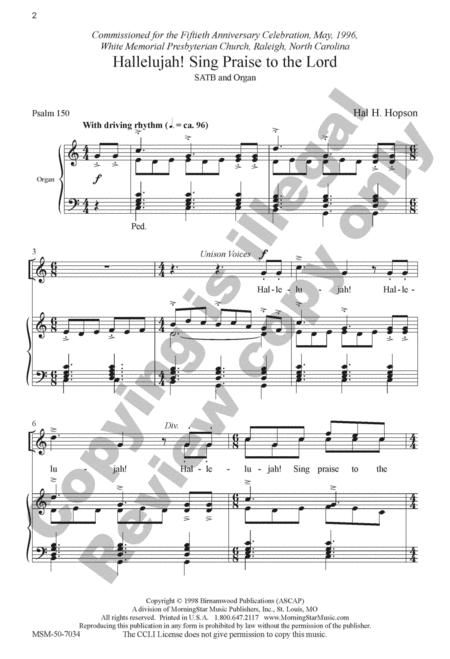 Hallelujah! Sing Praise To The Lord By Hal H. Hopson - Octavo Sheet Music For SATB Choir. Organ (Buy Print Music MN.50-7034 From MorningStar Music ...