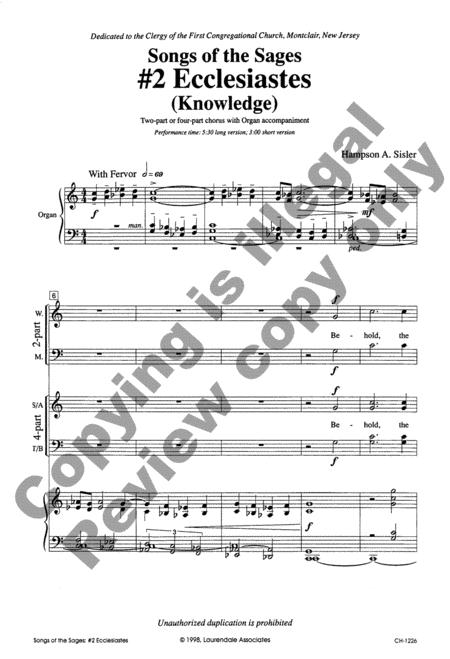 #2 Ecclesiastes (Knowledge) (Choral Score) By Hampson A