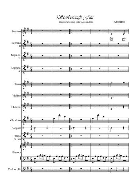 Scarborough Fair By Anonimo - Digital Sheet Music For Piano Accompaniment.Flute.Violin.Cello.Vibraphone.Guitar.Choir.Orff Instruments.flauto Di ...