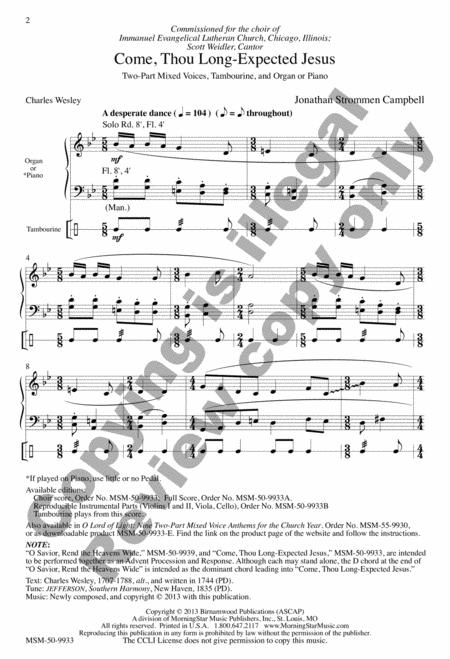 Preview Come, Thou Long-Expected Jesus (Choral Score) (MN