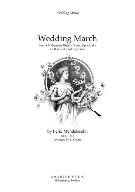 Download Wedding March For Flute Or Violin And Easy Piano