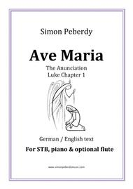 Ave Maria In B Flat For STB Voices, Piano & Optional Flute