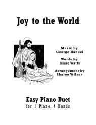 Download Joy To The World (Easy Piano Duet; 1 Piano, 4