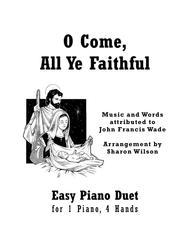 O Come, All Ye Faithful (Easy Piano Duet; 1 Piano, 4 Hands