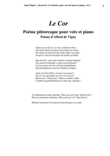 J'aime Le Son Du Cor : j'aime, Flégier:, Album, Songs, Voice, Piano,, Flégier, Digital, Sheet, Music, Score, Download, Print, S0.166897