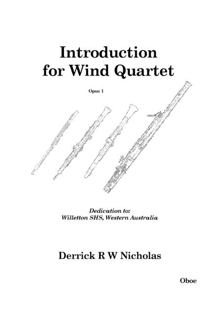 Introduction For Wind Quartet (Oboe) By Derrick R W
