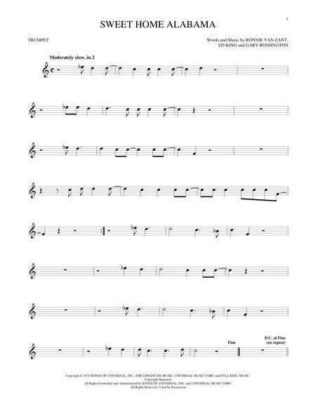D c g d c g sweet home alabama, lord, i'm coming home to you. Sweet Home Alabama By Lynyrd Skynyrd Ed King Digital Sheet Music For Trumpet Solo Download Print Hx 387834 Sheet Music Plus