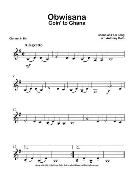 Obwisana : obwisana, Obwisana, Clarinet, Piano, Ghanaian, Digital, Sheet, Music, Parts, Download, Print, S0.341571