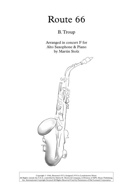 Route 66 Arranged For Alto Saxophone And Piano By Bobby