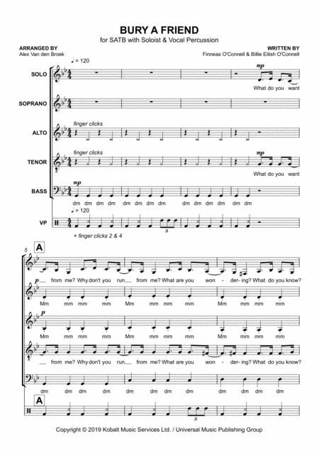 Bury A Friend SATB With Vocal Percussion By - Digital Sheet Music For - Download & Print H0.557063-SC003838739   Sheet Music Plus