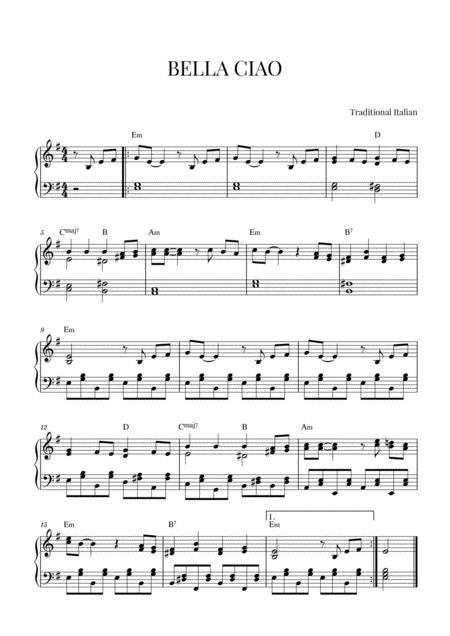 Bella Ciao Piano Notes : bella, piano, notes, BELLA, Intermediate, Piano, Italian, Traditional, Digital, Sheet, Music, Individual, Part,Lead, Sheet,Piano, Reduction,Sheet, Single,Solo, Download, Print, S0.593179
