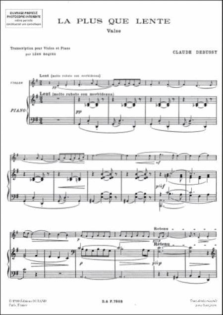 La Plus Que Lente By Claude Debussy (1862-1918) - Book With Part Sheet Music For Violin And Piano - Buy Print Music BT.DD-00790300 | Sheet Music Plus