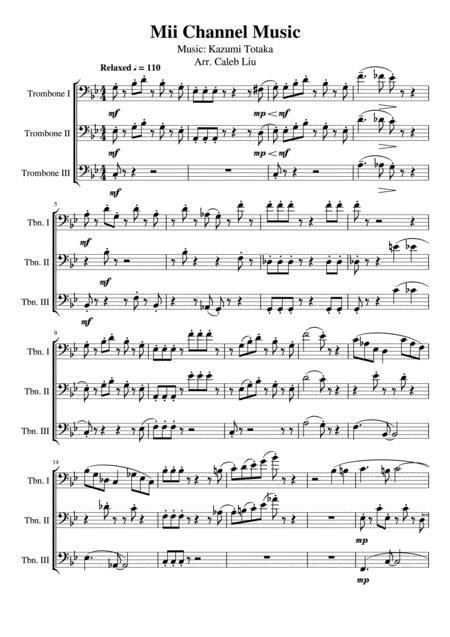 Mii Theme Sheet Music : theme, sheet, music, Channel, Theme:, Trombone, Kazumi, Totaka, Digital, Sheet, Music, Score,Set, Parts, Download, Print, S0.675935