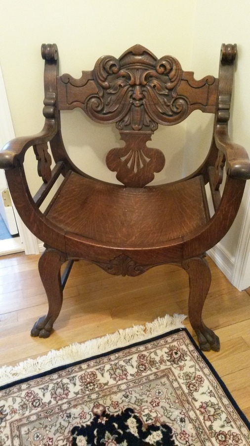 Chair Antique Carved Face Throne Chair  My Antique