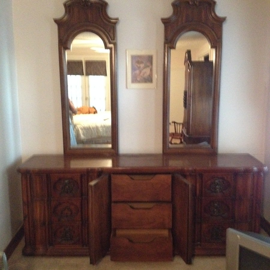 vanity with chair and mirror vinyl covers thomasville double dresser | my antique furniture collection