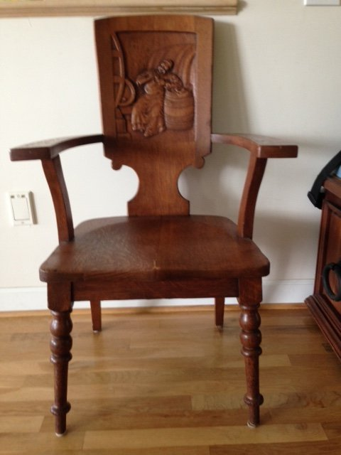 Wooden Arm Chair With Carved Scene On Back  My Antique