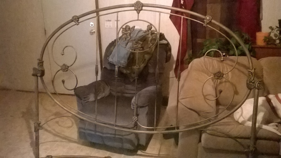 King Size Cherub Cast Iron Bed From 1900s  My Antique
