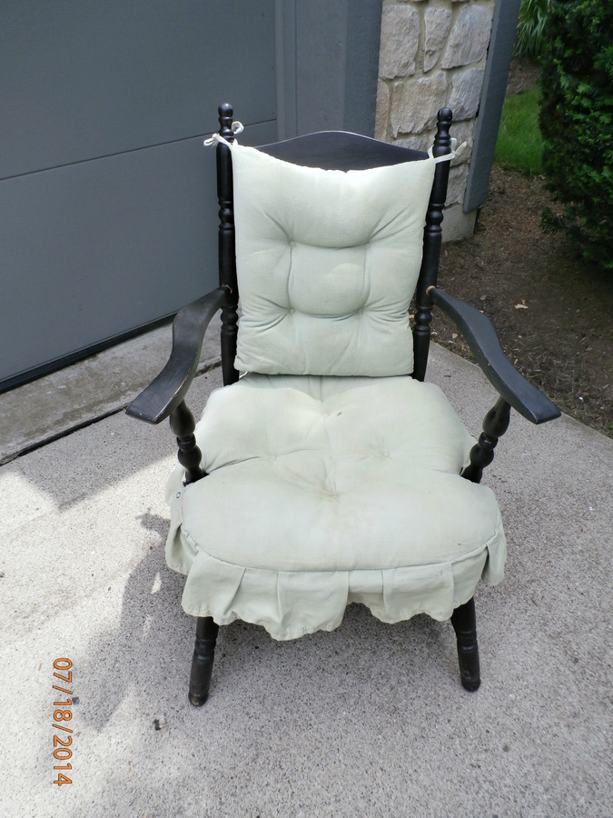 antique rocking chair black wire mid 40's armed cricket | my furniture collection