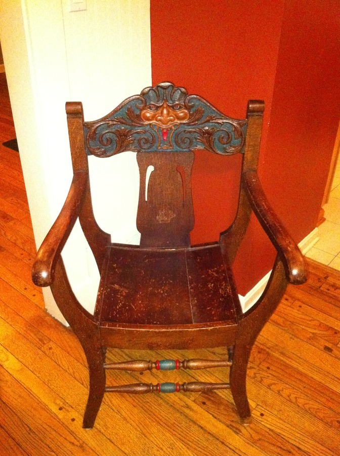 Old Chair With  North Wind Face Carved In The Back  My