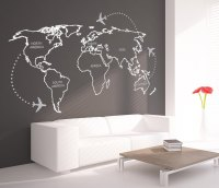 World Map Outlines with Continents Decal ...