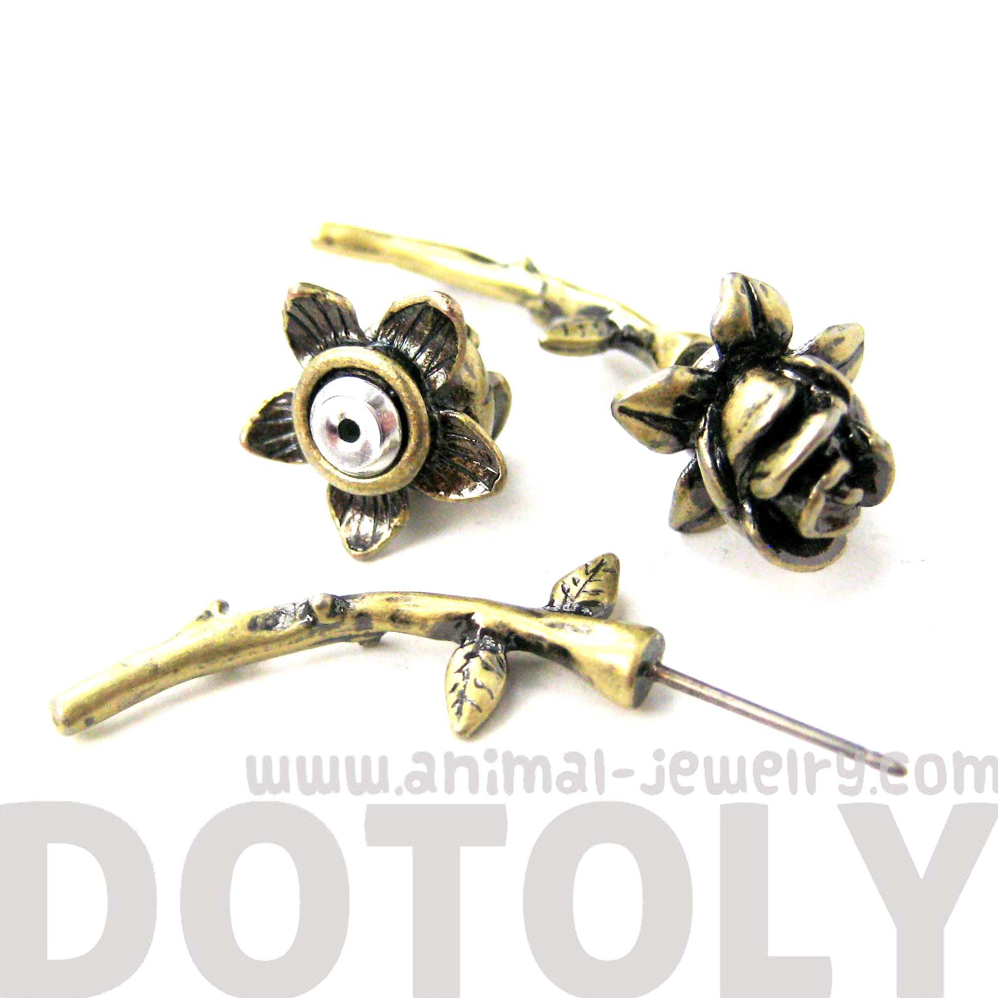 Rose Flower Shaped Fake Gauge Plug Stud Earrings in Brass