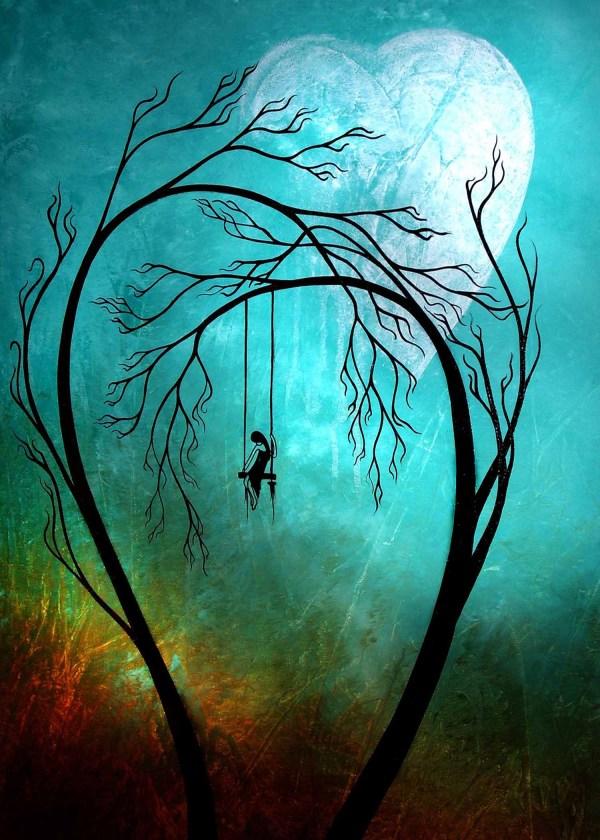 Moon and Tree Swing Paintings