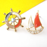 Nautical Wheel Helm Boat Stud Earrings in Black White and