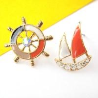 Nautical Wheel Helm Boat Stud Earrings in Black White and
