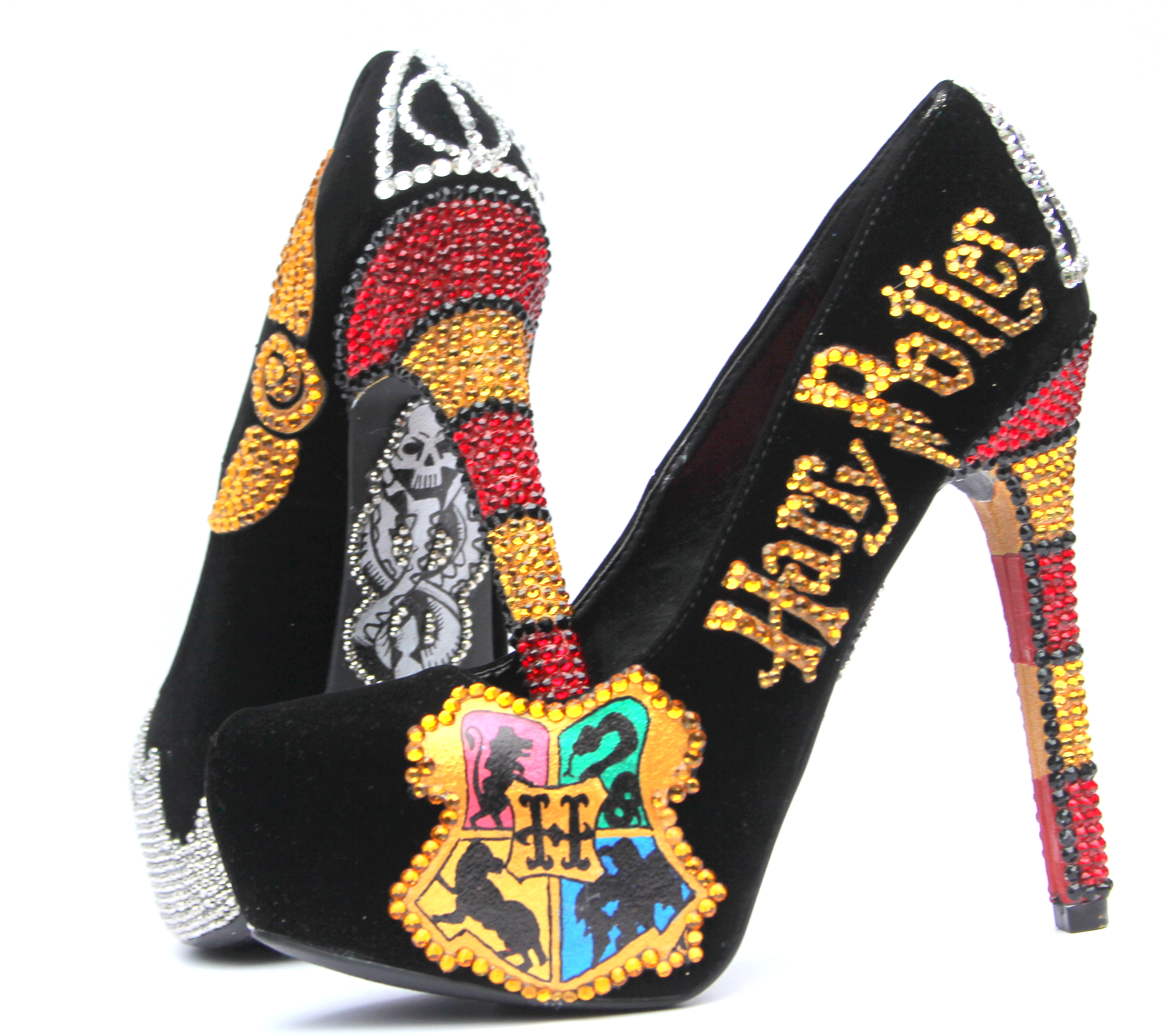 Harry Potter Heels Hand Painted With Swarovski Crystals On