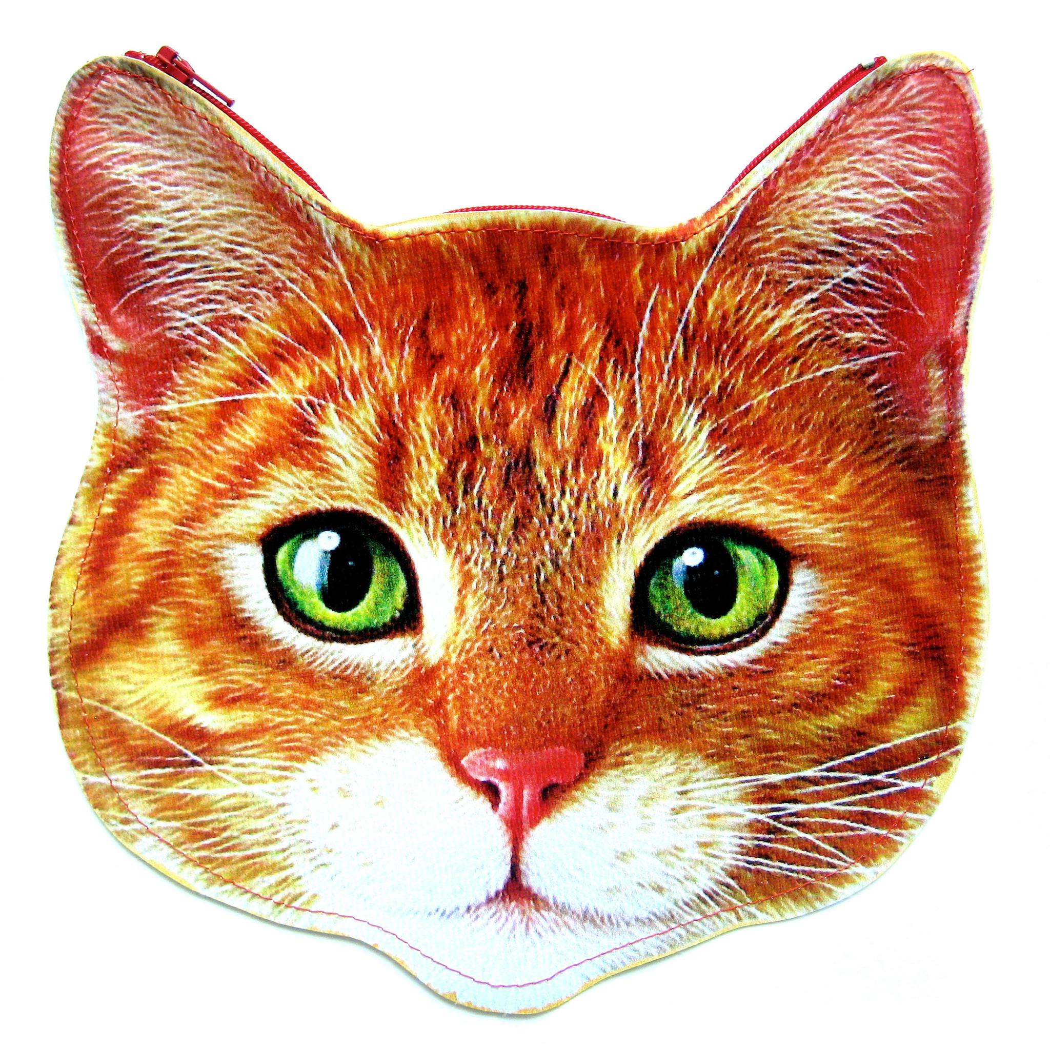 Kitty Cat Head Shaped Tabby Vinyl Animal Themed Clutch Bag