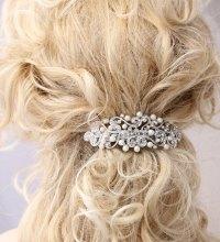 Crystal Pearl Hair Barrette Bridal Wedding Hair Accessory